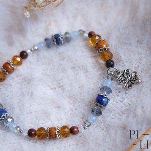 2/55$ bracelet natural jade tiger eye gemstones